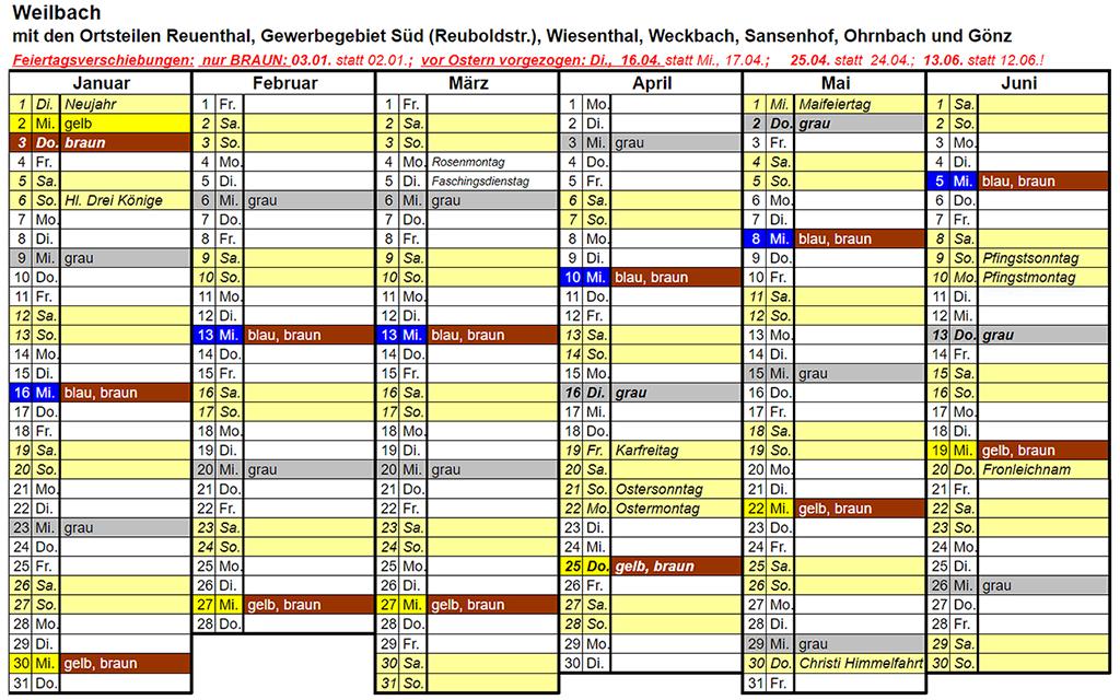 Abfuhrplan Weilbach 2019 Januar bis Juni