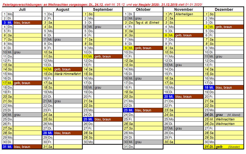 Abfuhrplan Weilbach 2019 Juli bis Dezember